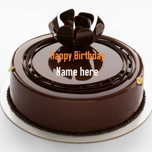 Mirror Glazed Chocolate Birthday Wishes Cake With Name
