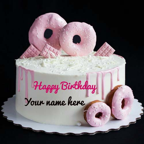 Donuts Decorated Birthday Cake With Name On It
