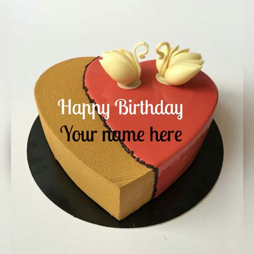 Love Bird Decorated Heart Birthday Cake With Name