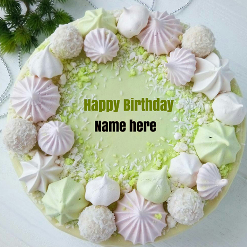 Pista Flavor Birthday Cake With Name On It