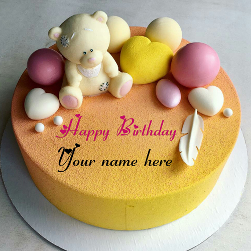 Teddy Bear Birthday Name Cake With Heart For Dear Wife