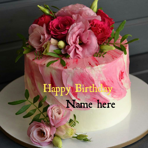 Write Name On Beautiful Rose Flower Birthday Cake