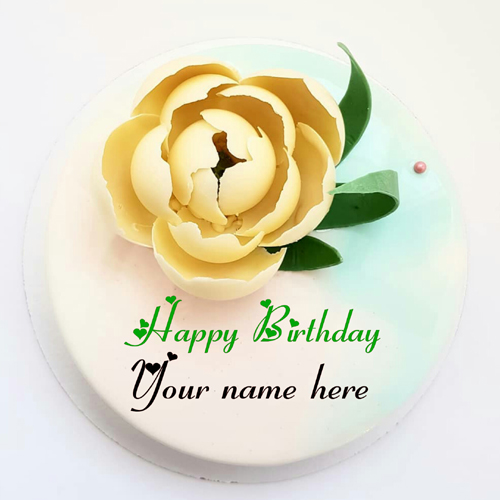 Type Name On Vanilla Cake With White Chocolate Rose