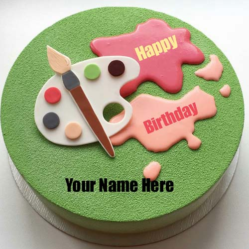 Write Painter Name On Birthday Cake With Color Palette