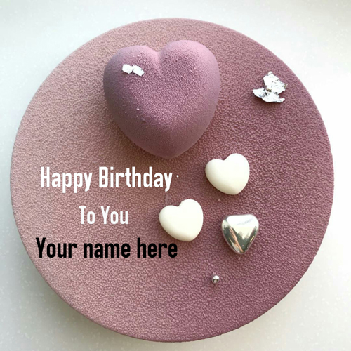 Rose Velvet Birthday Cake With Multiple Heart For Love