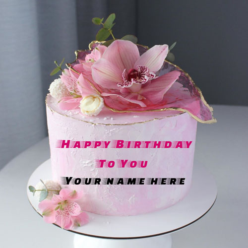 Rose Flavor Flower Decorated Birthday Cake With Name