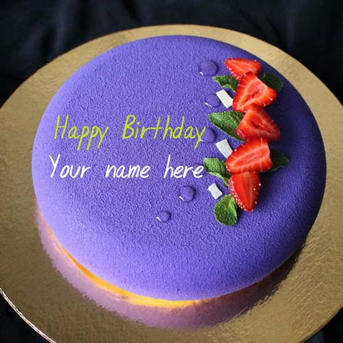 Black Currant Birthday Cake With Strawberry Toppings