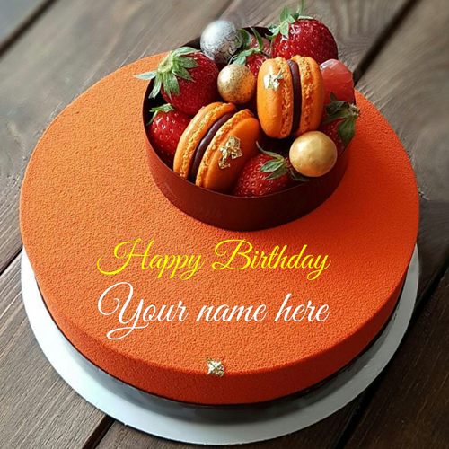 Print Name On Orange Birthday Cake With Donuts