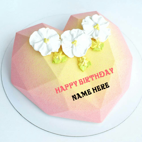 Beautiful Heart Shaped Birthday Cake With Name On It