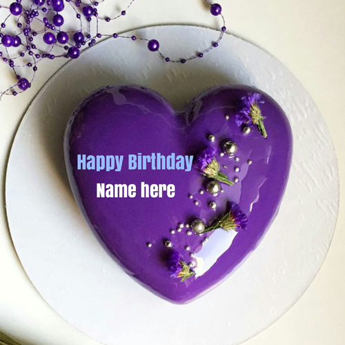 Mirror Glazed Purple Heart Birthday Cake With Name