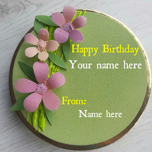 Flower Decorated Velvet Birthday Name Cake For Sister