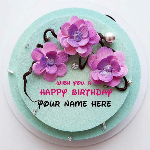 Write Name On Double Layer Flower Cake For Wife