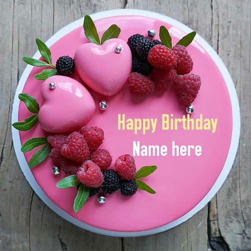 Strawberry Flavor Heart Birthday Name Cake for Wife