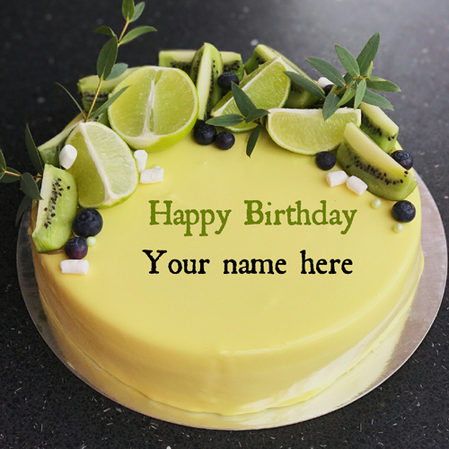 Lemon Kiwi Birthday Cake For Brother With Name