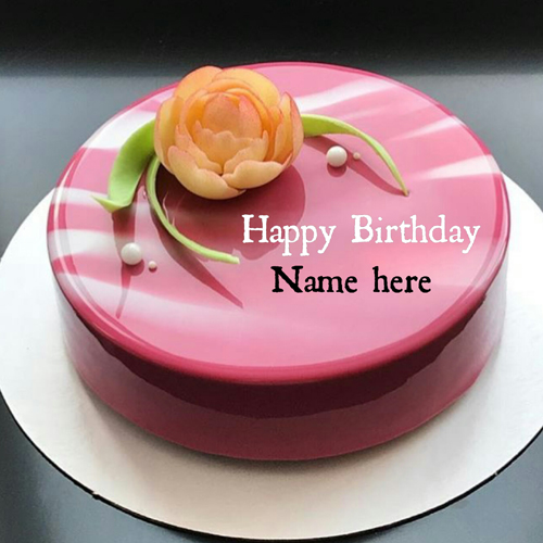 Generate Sister Name On Mirror Glazed Birthday Cake