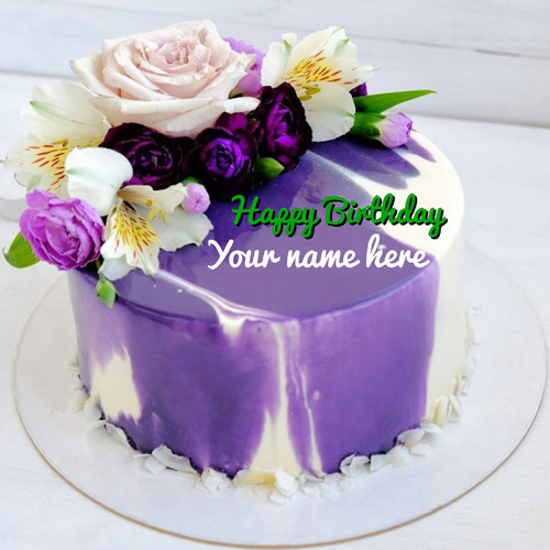 Beautiful Multiple Flower Birthday Cake With Name