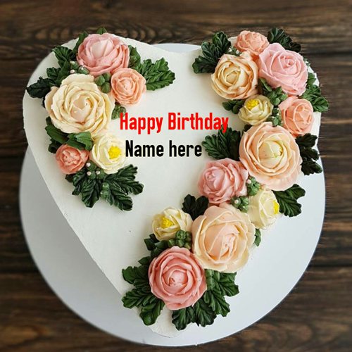 Flower Cream Heart Birthday Cake For Love With Name